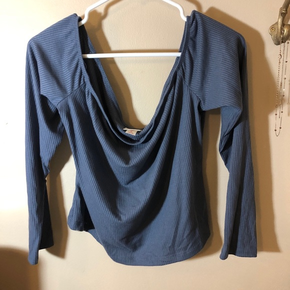 Mossimo Supply Co. Tops - Mossimo Off the Shoulder Blue Long Sleeve